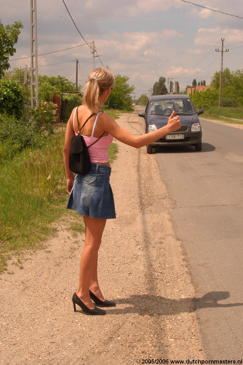 liftende blondine stop auto